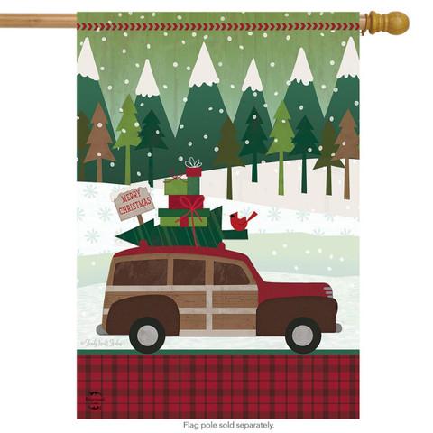 Christmas Wagon Primitive House Flag
