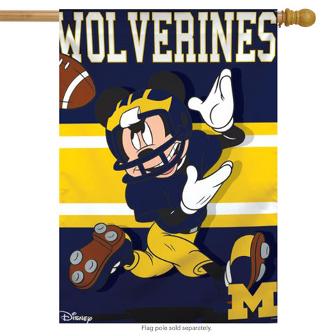 University of Michigan Wolverines NCAA Mickey Mouse House Flag