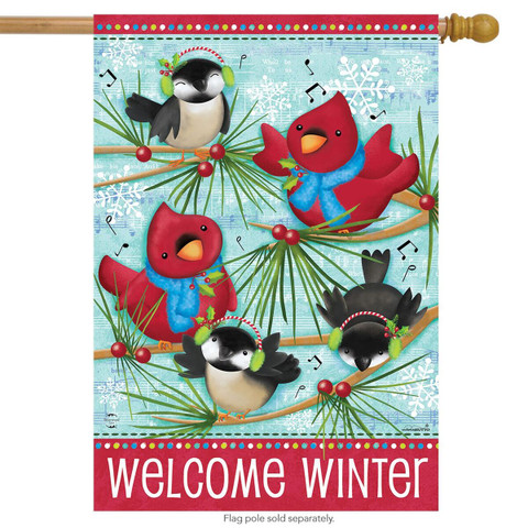 Winter Songbirds Primitive Humor House Flag