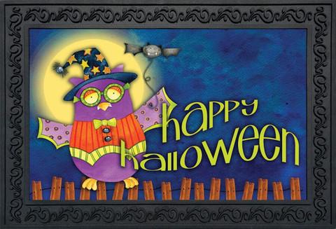 Halloween Owl Primitive Doormat