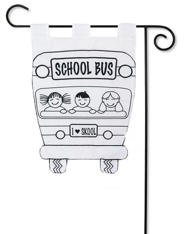 "School Bus Applique ""Color Me In"" Garden Flag"