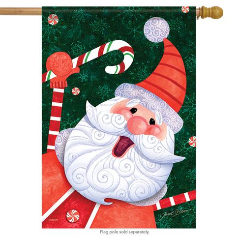 Candy Cane Santa Holiday House Flag