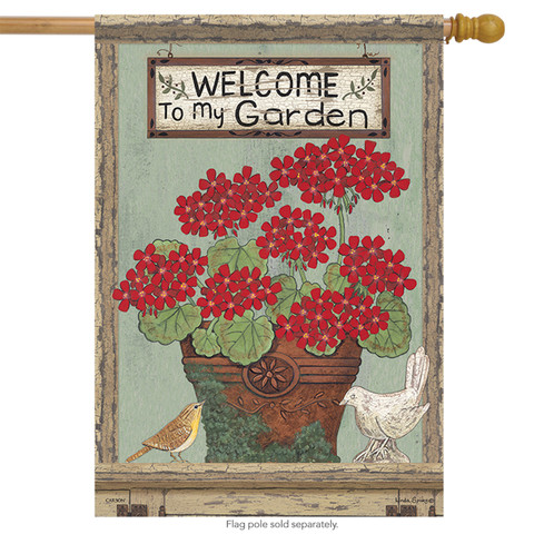 Welcome Geraniums Summer Floral House Flag