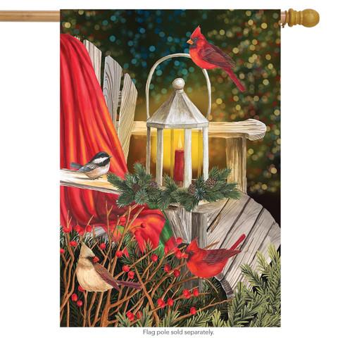 Cardinal Lantern Christmas House Flag