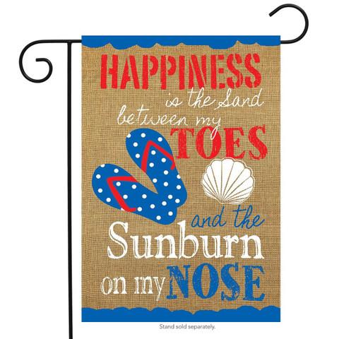 Summer Happiness Nautical Burlap Garden Flag
