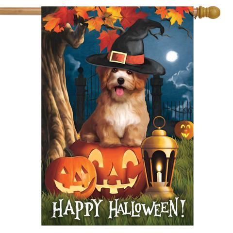 Halloween Dog Scene House Flag