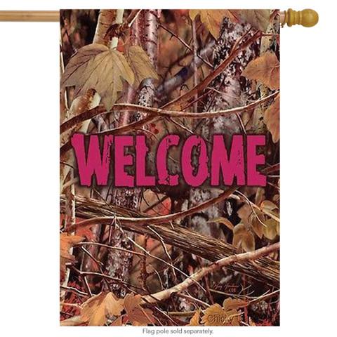 Pink Camo Welcome House Flag