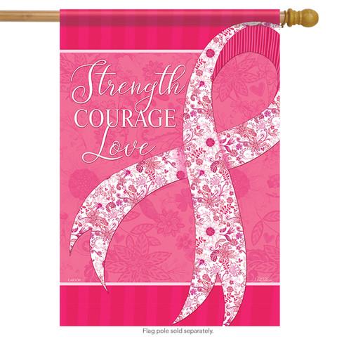 Positive Pink Ribbon Spring House Flag