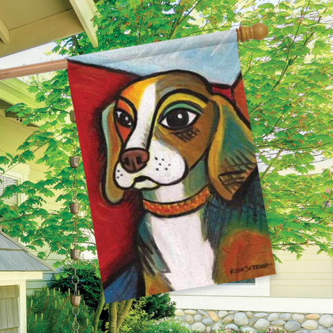 Pawcasso Beagle Dog House Flag