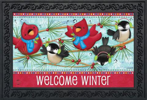 Winter Songbirds Primitive Doormat