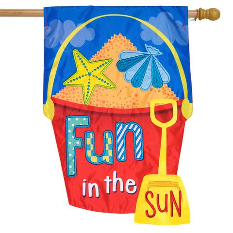 Fun in the Sun Applique Summer House Flag