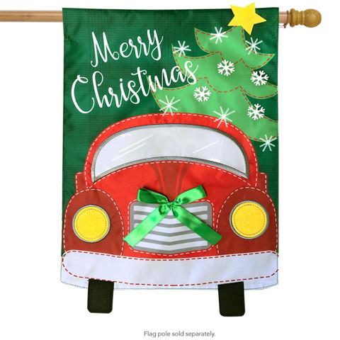Christmas Truck Applique House Flag