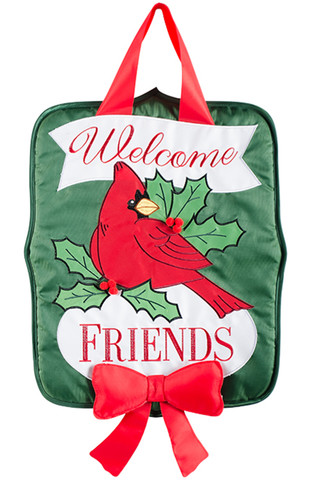 Holly Berry Cardinal Holiday Door Hanger