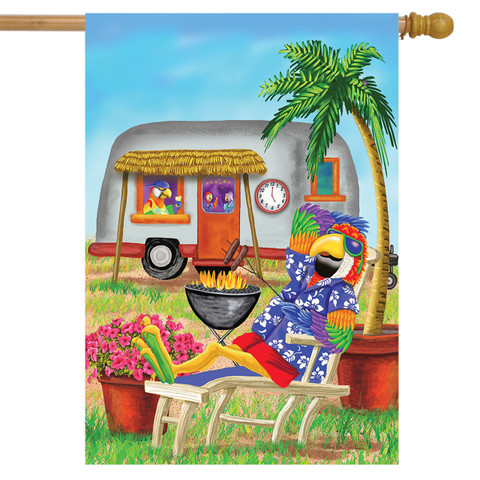 Tropical Parrot Summer House Flag