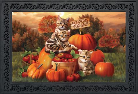 Fall Kittens Pumpkins Doormat