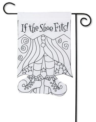 """If the Shoe Fits """"Color Me"""" Applique Garden Flag"""