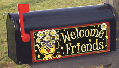 Yellow Teapot Welcome Primitive Mailbox / Door Magnet