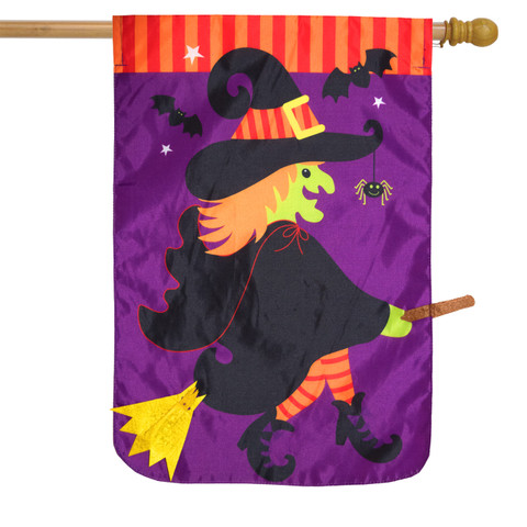 Flying Witch Halloween Applique House Flag