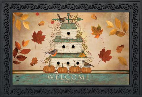 Welcome Fall Birdhouse Primitive Doormat