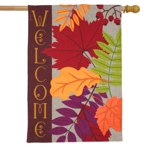 Autumn Leaves Burlap house Flag