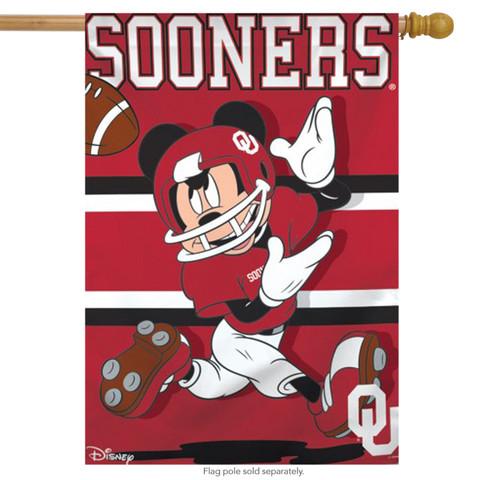 University of Oklahoma Sooners NCAA Mickey Mouse House Flag