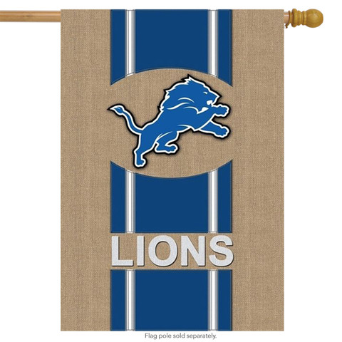 Detroit Lions NFL Licensed Burlap House Flag