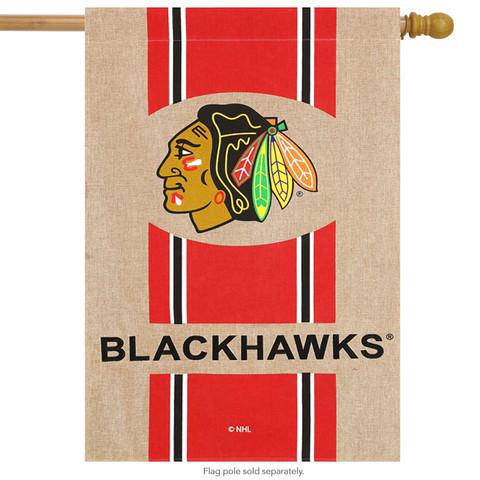 Chicago Blackhawks Burlap House Flag
