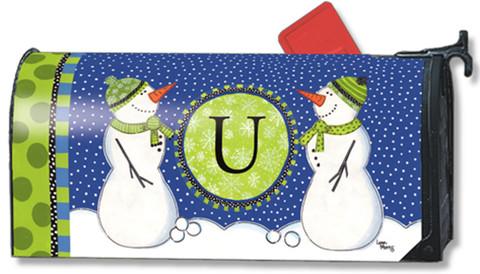 Winter Frolic Monogram U Magnetic Mailbox Cover