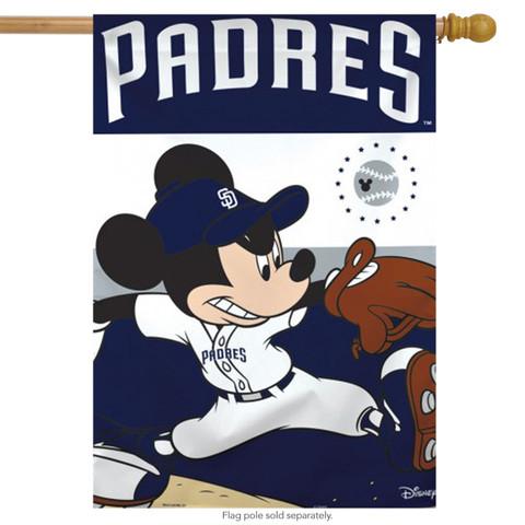 San Diego Padres MLB Mickey Mouse Baseball House Flag
