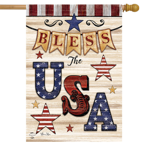 Bless The USA Patriotic House Flag