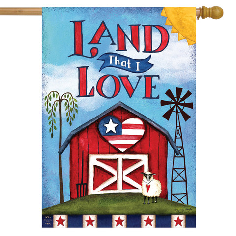 Land That I Love Patriotic House Flag