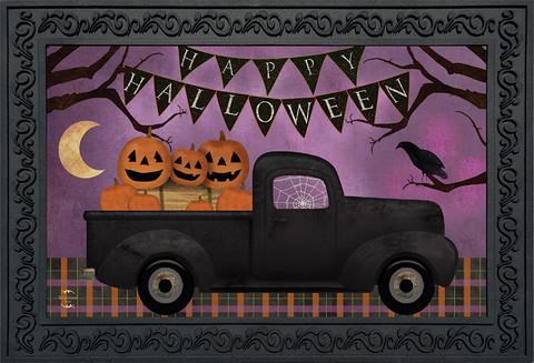 Halloween Truck Primitive Doormat