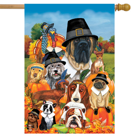 Give Thanks Dogs Thanksgiving House Flag
