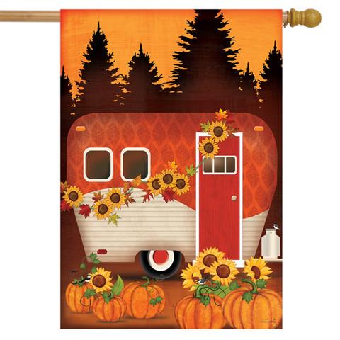 Autumn Night Camper House Flag
