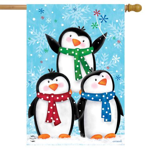 Winter Penguins House Flag