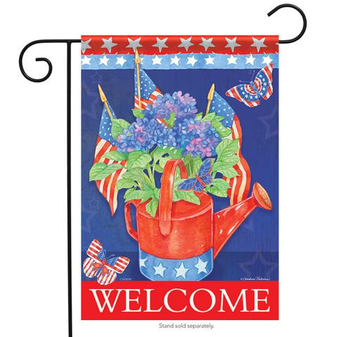 Hydrangeas & Flags Garden Flag