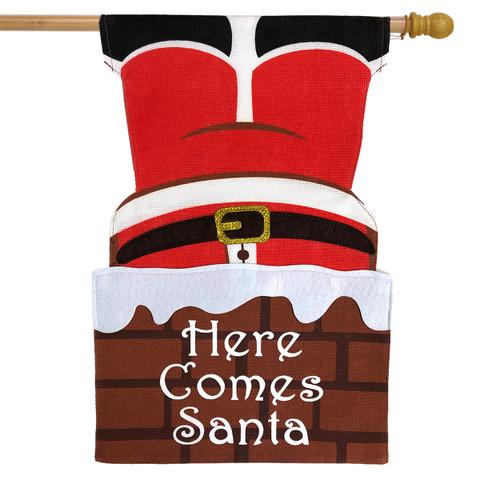 Here Comes Santa Christmas Burlap House Flag