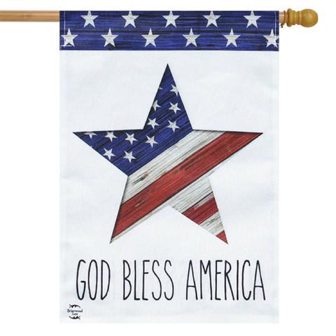 God Bless America Star Patriotic Burlap House Flag