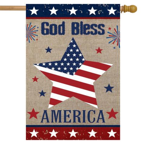 God Bless America Star Burlap House Flag