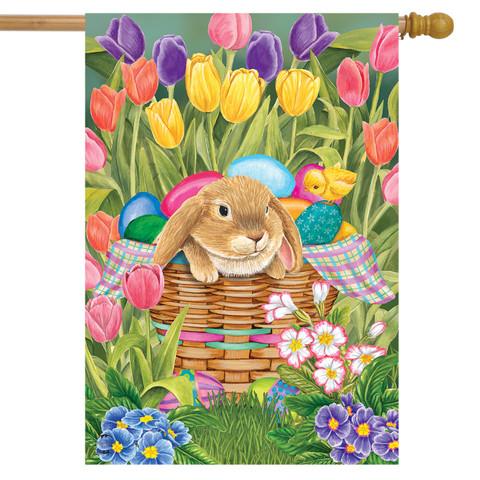 Spring Rabbit Tulips House Flag