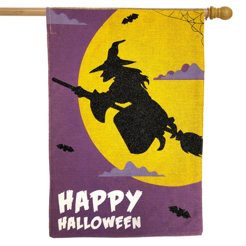 Flying Witch Halloween Burlap House Flag