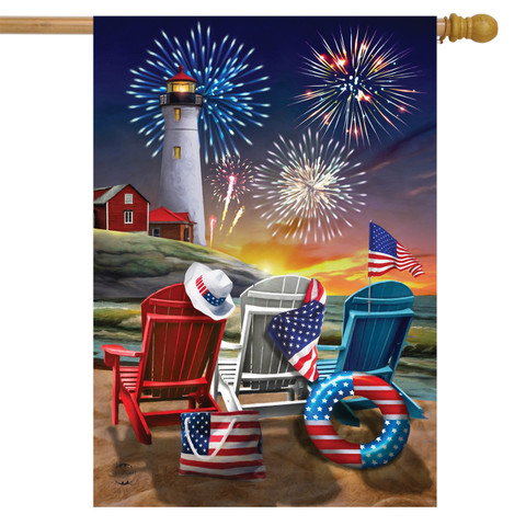 Beachfront Fireworks Fourth of July House Flag
