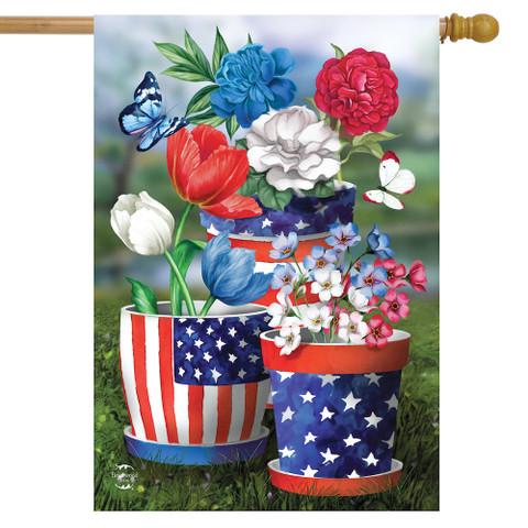 America In Bloom Patriotic House Flag