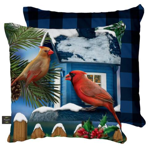 Snow Day Cardinals Winter Decorative Pillow