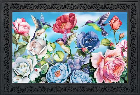 Hummingbird and Roses Spring Doormat
