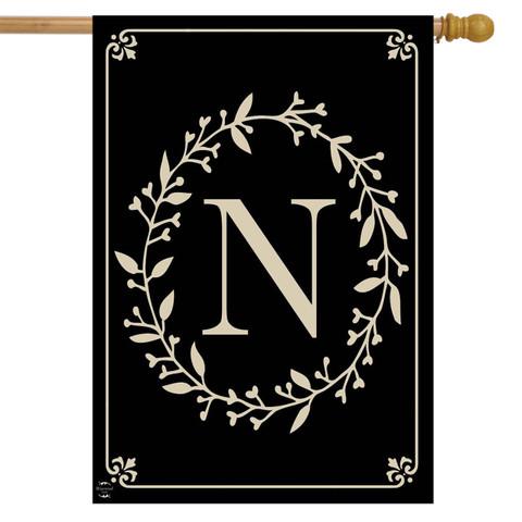 Briarwood Lane Classic Monogram Letter N Double-Sided House Flag