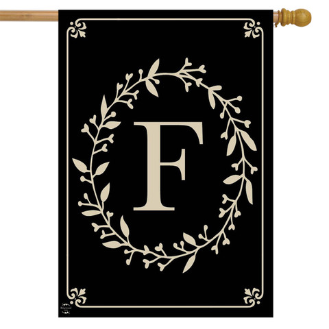 Briarwood Lane Classic Monogram Letter F Double-Sided House Flag
