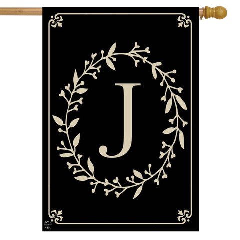 Briarwood Lane Classic Monogram Letter J Double-Sided House Flag