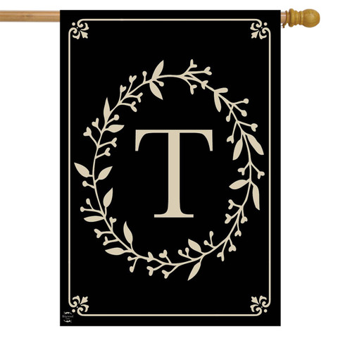 Briarwood Lane Classic Monogram Letter T Double-Sided House Flag