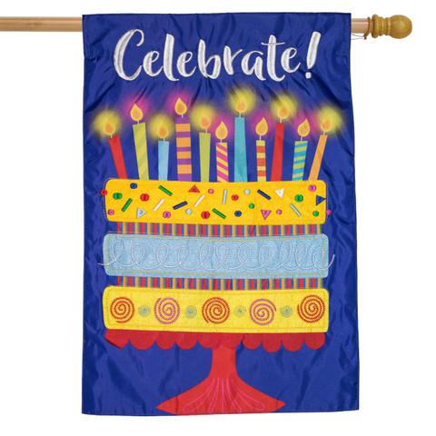 Celebrate Cake Applique House Flag